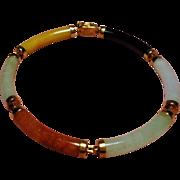 Vintage 14K Chinese Multi Color Jade Jadeite Link Bracelet