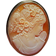 Vintage 14K Carved Shell Cameo of Flora Brooch Pendant