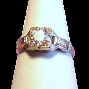 Vintage Art Deco .60 Carat European Cut Diamond Solitaire 18K White Gold Engagement Ring
