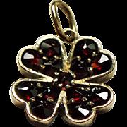 Antique Victorian Rose Cut Garnet Four Leaf Clover Gilt Silver Pendant Charm