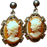 Vintage Cameo Marcasite 800 Silver Drop Earrings