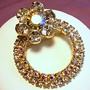 Vintage Aurora Borealis  Circle Brooch with Rhinestone Flower
