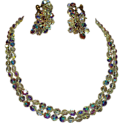 Vintage A.B. Crystal Bead Necklace & Long Drop Cluster Earrings Markus Jellinek Tension Screw