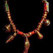 Vintage African Trade Bead Necklace Venetian Millefiori and Brass Bicones Bells