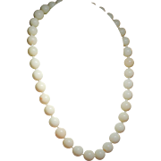 Vintage Angel Skin Coral Bead Choker Length Necklace 14K Clasp