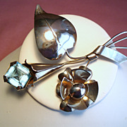 Vintage Retro Modern Sterling Flower Brooch Aqua Glass Stone
