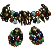 Vintage Signed ART Colorful Cabochon Stone Mask Bracelet Earrings Demi Parure