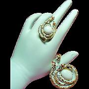 Vintage Signed Art Snake Adjustable Ring Brooch Set