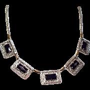 Vintage Art Deco Cobalt Blue Glass Filigree Plaque Necklace