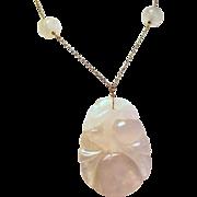 Vintage Art Deco Chinese Carved Pink Rose Quartz Pendant Necklace