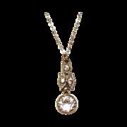 Vintage Art Deco Faceted Crystal Pendant Necklace