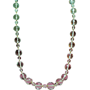 Vintage Art Deco Faceted Cut Glass Large Graduated Bead Extra Long Necklace