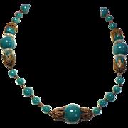 Vintage Art Deco Jade Green Glass Bead Crystal Disc Choker Necklace