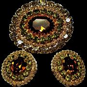 Vintage Austria Autumn Colored Crystal Rhinestone Brooch Earrings Set