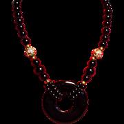 Vintage Black Onyx Donut Pendant Cloisonne Bead Long Necklace