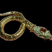 Vintage Ruby Red Glass Cabochon Stone Rhinestone Snake Brooch