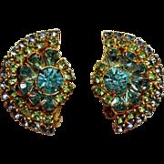 Vintage Hattie Carnegie Aqua Lime Rhinestone Earrings