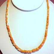 Vintage Carved Angel Skin Coral Petite Tulip Blossom Strand Necklace