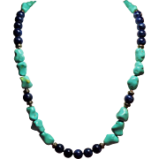 Vintage Chinese Turquoise and Lapis Bead Opera Length Sterling Necklace