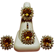 Vintage Ciner Faux Citrine Rhinestone Cocktail Ring Pendant Earrings Parure