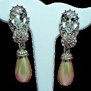 Vintage Ciner Huge Pear Rhinestone Long Drop Simulated Pearl Earrings