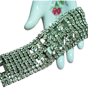 Vintage Fabulous Clear Rhinestone Extra Wide Cut Out Bracelet