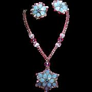 Vintage Claudette Blue Opaline Art Glass Stone Flower Necklace Earrings Demi Parure