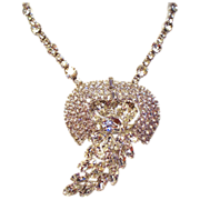 Vintage Clear Rhinestone Stunning High End Pendant Necklace