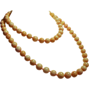 Vintage 10 Millimeter Natural Coral Bead Long Opera Length Necklace