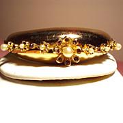 Vintage Coro Pegasus Faux Pearl Hinged Clamper Bangle Bracelet