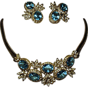 Vintage Castlecliff Aqua & Diamante Necklace Earrings Demi Parure