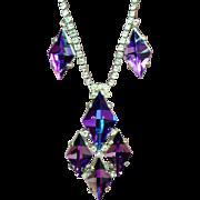 Vintage Castlecliff Purple Heliotrope Mirror Glass Kite Pendant Rhinestone Necklace