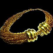 Vintage Donald Stannard Couture Golden Glass Bead Torsade Necklace