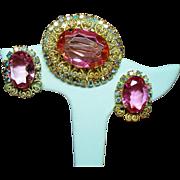 Vintage D&E Juliana Heart Scrolls Pink Rhinestone Brooch Earrings Set