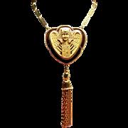 Vintage Egyptian Revival Pharaoh Pendant Long Tassel Necklace