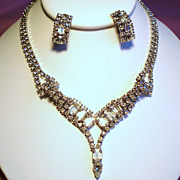 Vintage Emerald Cut Clear Rhinestone Necklace Earrings Demi Parure