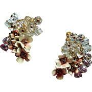 Vintage Pink Enamel Flower Cluster Drippy Lavender Crystal Bead Climber Earrings