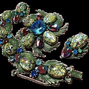 Vintage Florenza Dragons Easter Egg Rhinestone Bracelet Brooch / Pendant Earrings Parure