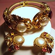 Vintage Faux Mabe Pearl Open Back Glass Stone Clamper Bracelet Earrings Demi Parure