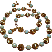 Vintage Faux Turquoise & Gold Filled Fluted Beads Parure