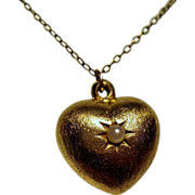 Vintage Gold Filled Puffy Heart Seed Pearl Pendant Necklace