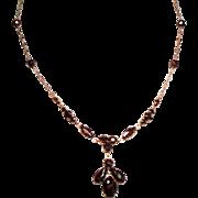 Vintage Faceted Garnet Glass Pendant Necklace