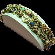 Vintage Goldette Faux Gemstone Slide Double Row Bracelet
