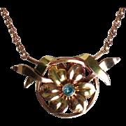Vintage Retro Modern Harry Bick & Sons Gold Filled Natural Blue Zircon Gemstone Necklace.
