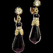 Vintage Miriam Haskell Faceted Black Glass Prism Long Drop Earrings