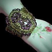 Vintage Czech Faceted Amethyst Glass Stone Huge Foliate Plaque Wide Bracelet