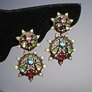 Vintage Hollycraft Rhinestone & Faux Pearl Drop Earrings