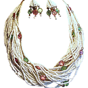 Vintage Hobe Seed Bead Open Back Crystal Torsade Necklace Drippy Earrings Demi Parure