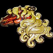 Vintage Hroar Prydz Norway Sterling Enamel Horse Head Pendant