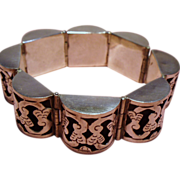 Vintage Iguala Mexico Sterling Open Work Dome Link Bracelet
